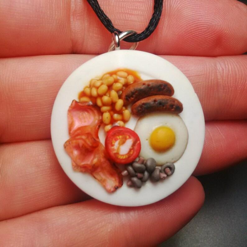 Full English Breakfast Pendant Miniature Food Fimo Polymer image 0