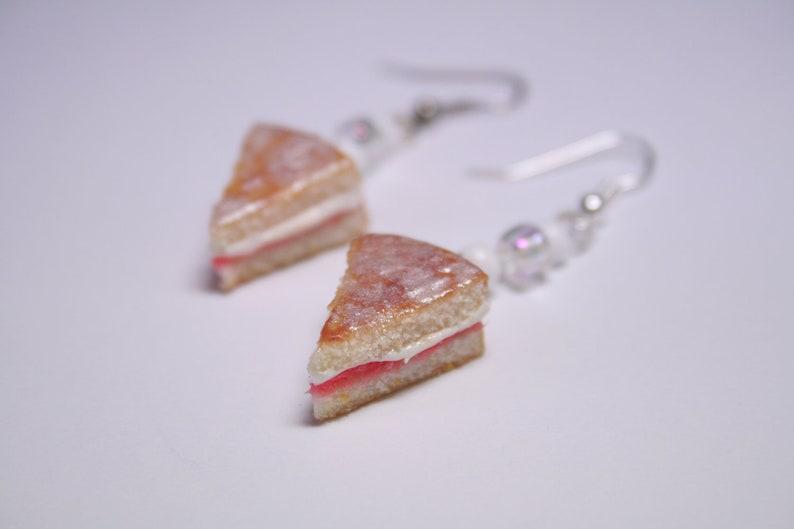 Victoria Sponge Cake Slice Earrings Miniature Food Jewellery image 0
