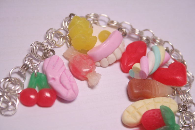 Custom Pick'n'Mix Sweets Charm Bracelet Fimo Polymer image 0