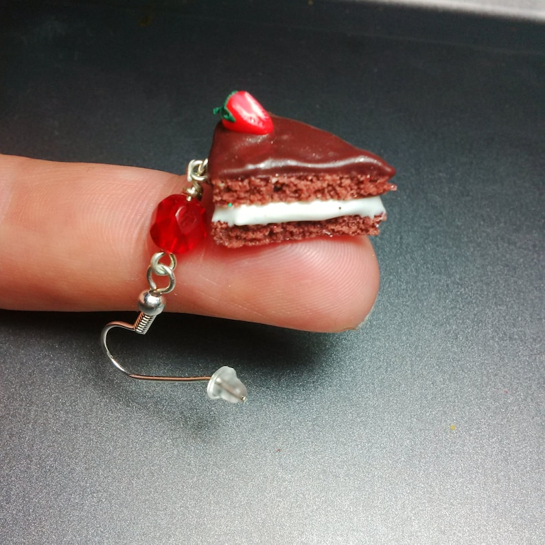 Chocolate and Strawberry Cake Slice Earrings Miniature Food image 0