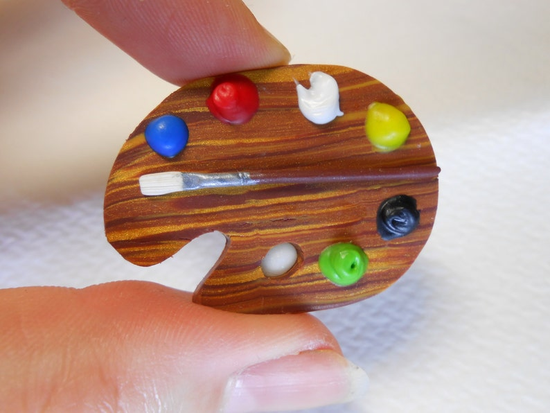 Artist Palette Brooch/Badge/Pin Miniature Fimo Polymer Clay image 0