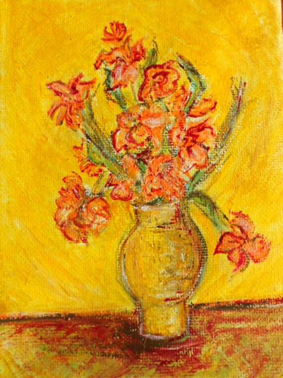 Orange Irises After Van Gogh Fine Art Oil Painting Small Etsy