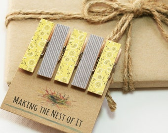 Yellow Gray Summer Clothespins Magnet Clips