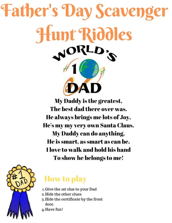 Father S Day Scavenger Hunt Riddles With Best Dad Etsy