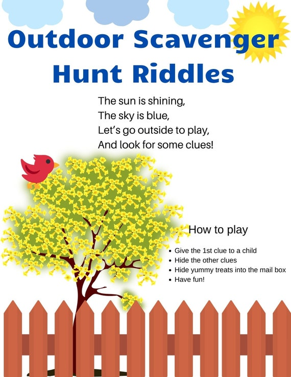 Outdoor Kids Scavenger Hunt Rhyming Clues Riddles 12 Etsy