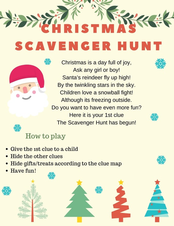 Merry Christmas Scavenger Hunt Riddles Clues Etsy
