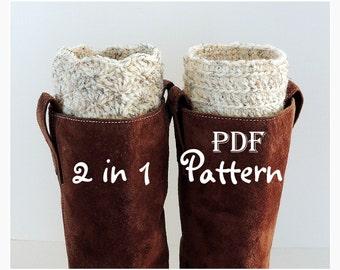PDF CROCHET PATTERN - Make It Yourself:  Pattern for 2 in 1 Boot Cuffs, Fan or Line Design, Digital Download, Lots of Photos