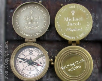 Baptism Gift, Engraved Compass, Boy Baptism Gift, Confirmation Gifts for Boy or Girl, Personalized Compass, Compass