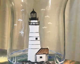 Lighthouse Candle with LED tealight.