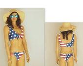 American Flag Bikini,USA flag knotted bikini top,Strappy bottoms,Swimsuits plus size,4th July,Swimwear,Bathing suits women,Patriotic bikini