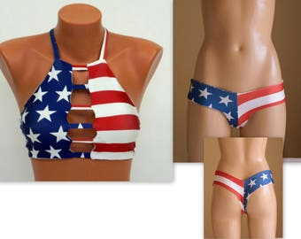 a5efda64526 American Flag Bikini USA Flag strappy bikini top thong hipster  bottoms Swimsuits women Swimwear plus size 4th July Bathing suits Patriotic