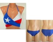 Texas Flag wrap around bikini top full coverage bikini bottoms Plus size Bathing suit Swimwear Swimsuit 4th July