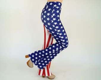 1f3913d25d48f1 USA flag Bell bottoms/American Flag bell bottoms/4th July/Festival pants/Plus  size bell bottoms/Patriotic flare pant/Gifts/Women leggings