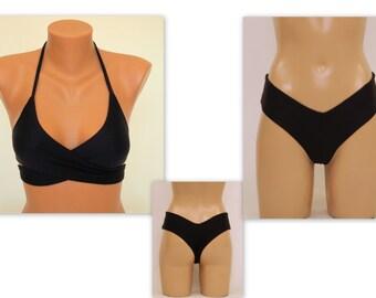 75a547a386 Wrap bikini set/Black wrap around halter bikini top matching hipster  bottoms/Bathing suits/Swimsuits plus size/Swimwear women/Becahwear sexy