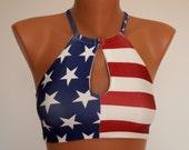 American Flag bikini USA flag cut out high neck halter bikini top Swimwear women Swimsuits plus size Bathing suits 4th July Festival top