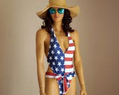 American Flag one piece swimsuit USA Flag one piece high cut swimsuit Swimwear women Plus size swimsuits Bathing suits 4th July High leg