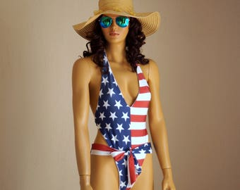 6383a210f9 American Flag one piece swimsuit USA Flag one piece high cut swimsuit  Swimwear women Plus size swimsuits Bathing suits 4th July High leg