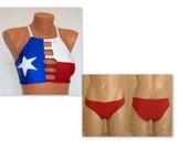 Texas Flag Bikini Texas Flag strappy high neck halter bikini top and red bottoms Swimwear women Swimsuits plus size Bathing suits Bikini set