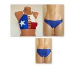 Texas flag bikini Texas flag strappy bikini top and bottoms High neck bikini top Plus size swimsuit Swimwear women Bathing suit Bikini set