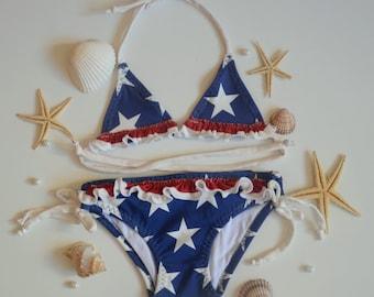 90s Beach Babe Cover Up American Flag Biker Girl USA Swim Cover
