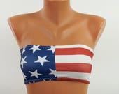 American flag bandeau bikini Swimsuits women Plus size swimwear 4th July Bathing suits women Bandeau bra Patriotic bikini