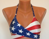American Flag Bikini American Flag wrap around halter top Swimwear women Swimsuits plus size Bathing suits 4th July Patriotic bikini top