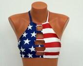 American flag high neck halter bikini top,Patriotic,Swimwear,Swimsuit,Bathing suits,Plus size,4th July