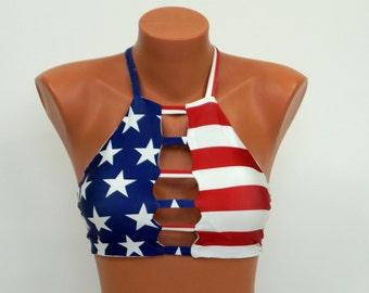 e042d1365dc American flag bikini top Flag strappy halter top High neck Patriotic bikini  Swimwear Swimsuit Bathing suit Plus size 4th July bikini top