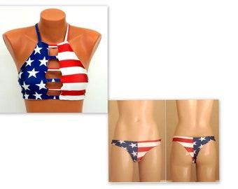 b2baa6bbb10 American Flag Bikini USA flag strappy bikini top Flag thong bikini bottoms Swimwear  women Bathing suits Swimsuits plus size Sexy bikini set
