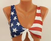 American flag bikini top USA flag knotted bikini top High neck bikinis Swimwear women Swimsuits plus size Bathing suit 4th July Halter top