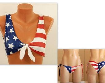 9f353309f3 American flag bikini/USA flag knot bikini top/USA flag tie side  bottoms/Swimsuits women/Plus size swimwear/4th July/Bathing suits/Bikini