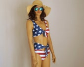 American flag knot bikini top high waisted knot bottoms Swimsuit Swimwear Plus size Bathing suit 4th july Patriotic