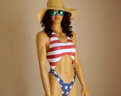 American Flag high hip one piece swimsuit USA Flag one piece swimsuit Swimwear women Plus size swimsuits Patriotic Bathing suits 4th July