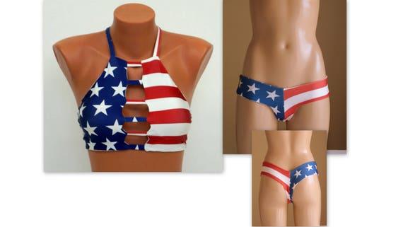 c6512096c3 American Flag Bikini/USA Flag strappy bikini top thong hipster | Etsy