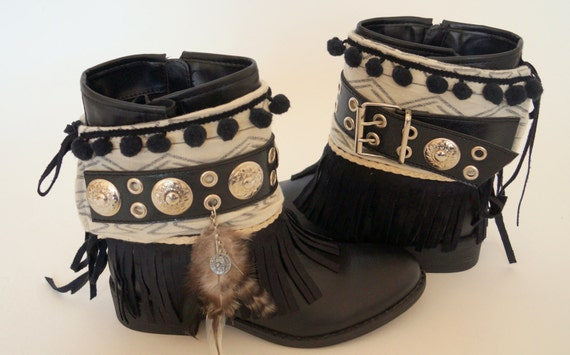 Western Women Boot Toppers Black Lace Fringe Long Tassle Knee High Ethnic Silver