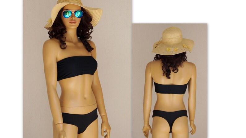 ff283e492c7af Black bandeau bikiniSwimwearBathing suitHigh cut | Etsy