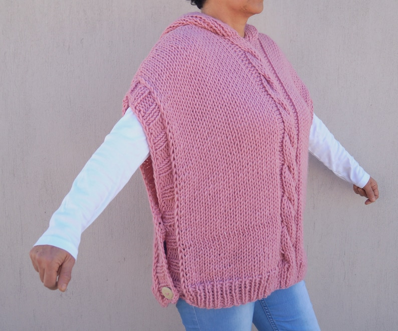 Hand knit sweater,Plus size hoodie sweater,Women sweater,Chunky sweater,Oversized sweater,Maternity,Christmas gift,Cable knit sweater