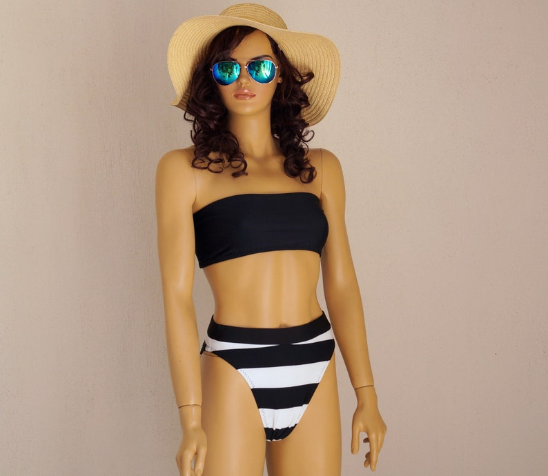 eff6b5c1029ea Black bandeau bikini setSwimwearSwimsuitBandeau bikini | Etsy