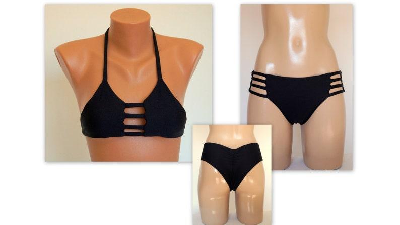 43d56503ce88de Zestaw czarny bikini stroje kąpielowe strój kąpielowy | Etsy
