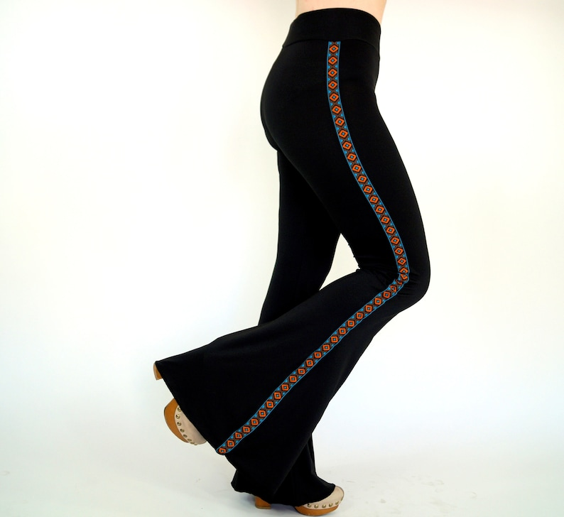 29affb5e91 Native American Bell bottoms  Black flare pants Stretchy bell bottoms Yoga  pants Women s leggings Plus size 70 s clothing Festival Pants