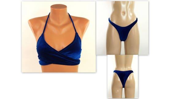 74e73749b0 Navy blue velvet bikini  Velvet wrap around bikini top high