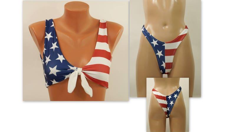 bde0c4023f American flag bikini/USA flag knotted bikini top and high leg | Etsy