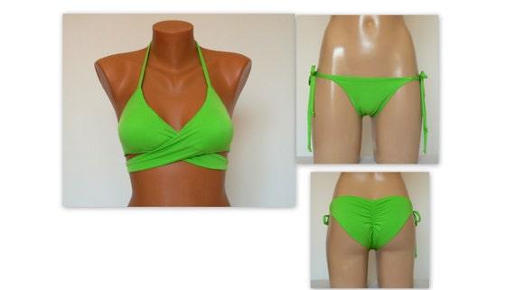 e8b970cbc6254 Bikini women Lime green wrap around bikini top and tie side