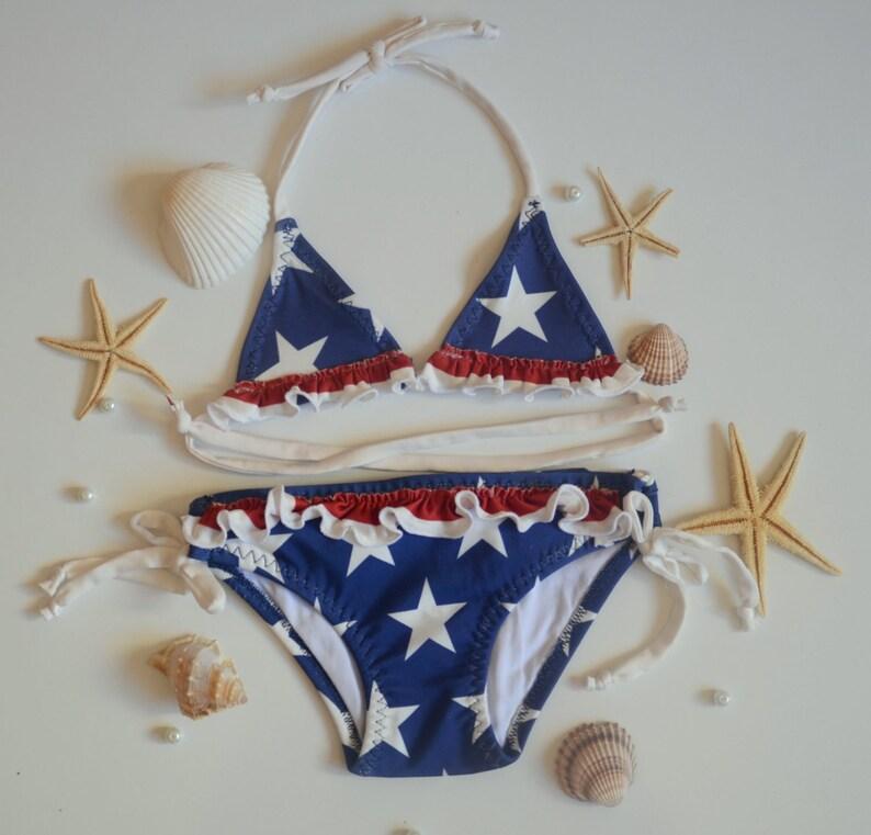 963a34d2e American Flag girl bikini/USA Flag baby girl halter bikini | Etsy