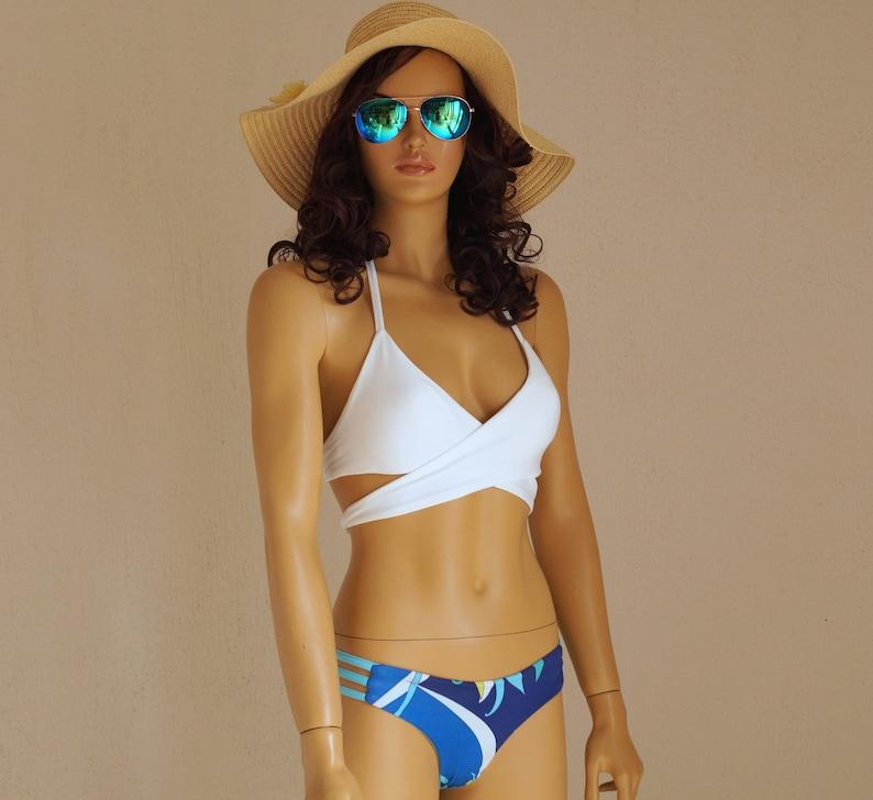 b1db2b36ed9 White seamless bikini/Wrap bikini top/Strappy thong | Etsy