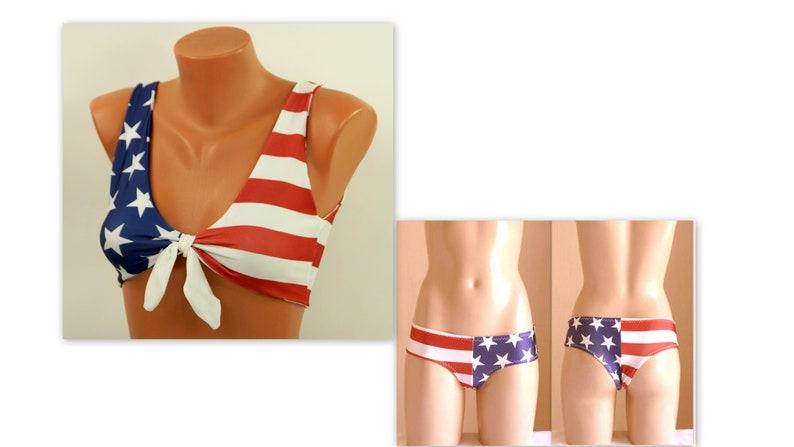 7444797073 American flag bikini/USA flag knotted bikini top and boyshort | Etsy