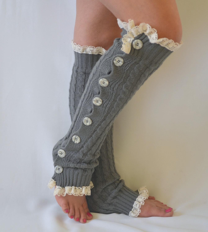 51f5cf16f Leg warmers Gray knit leg warmers Boot socks Knee high