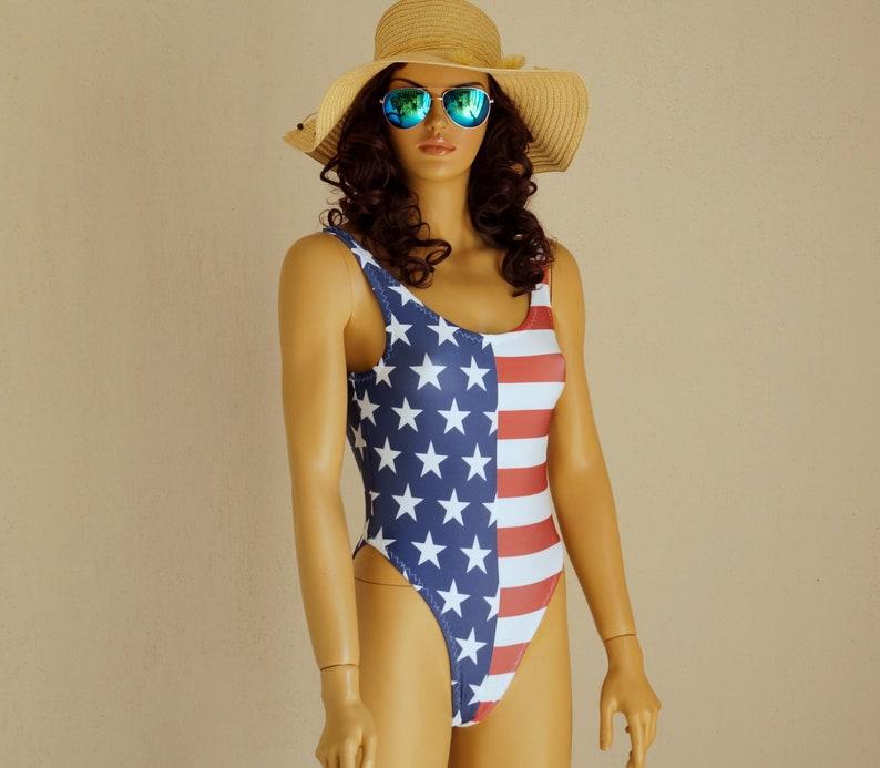 Hip Badpak.Amerikaanse Vlag Een Stuk Zwembroek Usa Vlag Een Stuk Hoog Hip Etsy