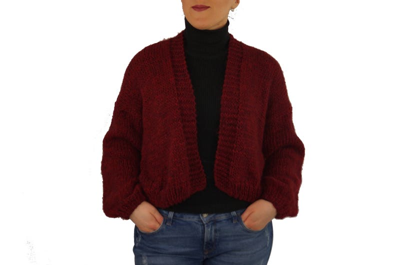 add61bc0a50a Hand knit sweaters Burgundy sweaters