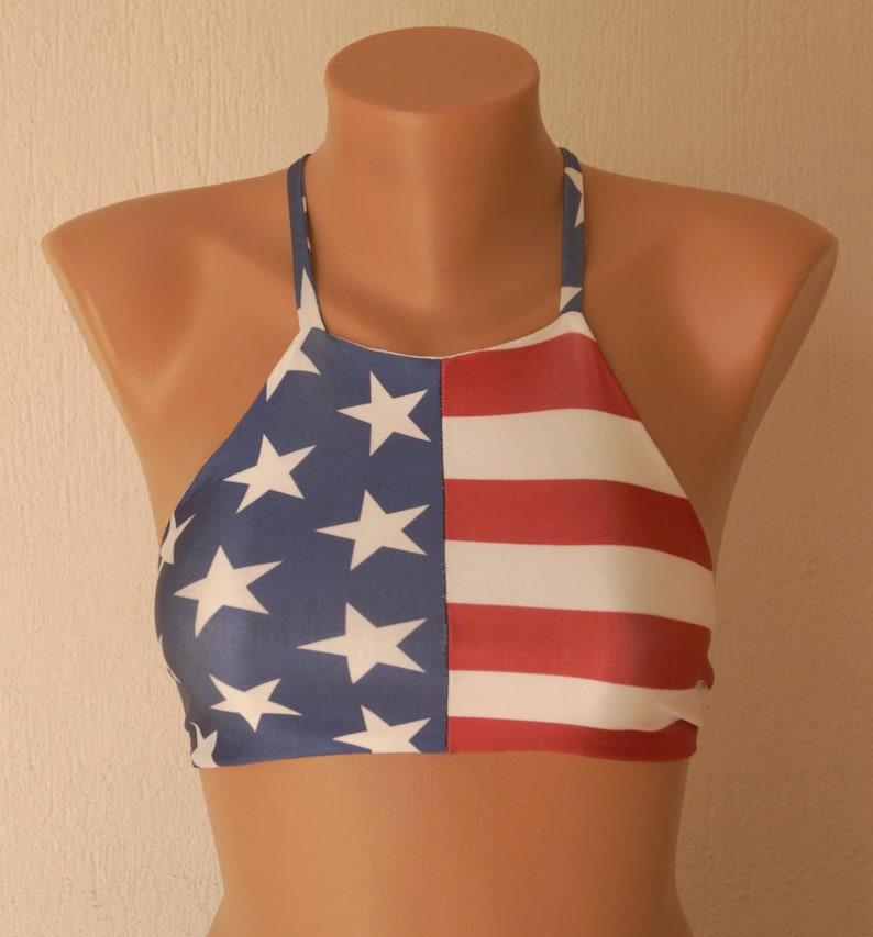 30e29e68293 American flag bikini top American flag high neck halter bikini